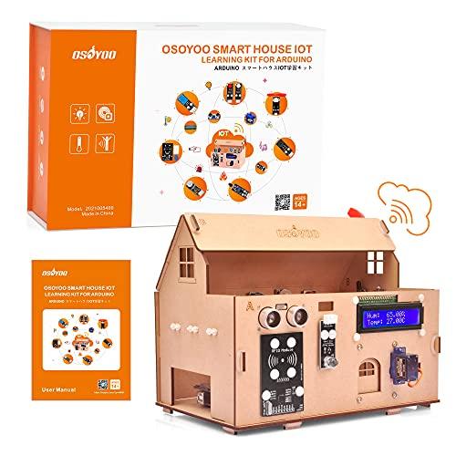 OSOYOO Smart House IoT, Bausatz für ein Wohngebäude mit Hausautomation auf Basis von Arduino MEGA2560 / Lernmaterial für intelligente Experimente mit der Blynk App und Plattform/für Schule und Hobby