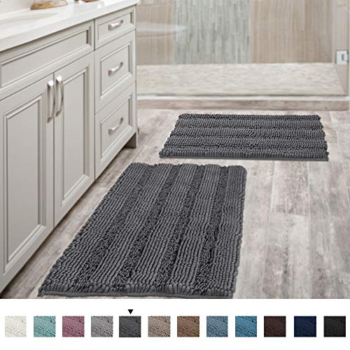 Grey Bath Mats for Bathroom Non Slip Ultra Thick and Soft Chenille Plush Striped Floor Mats Bath Rugs Set, Microfiber Door Mats for Kitchen/Living Room (Pack 2-20
