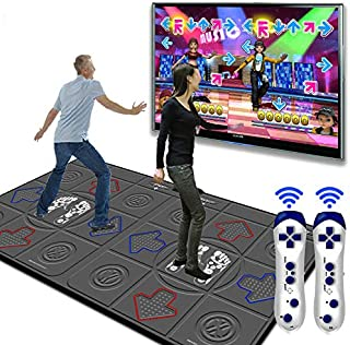 Dance mat 3D Double Yoga Somatosensory Game Machine 32g+8g Running Memory,Wireless Connections Pu Material Cozy Massage Blanket, Unlimited Update Song Game
