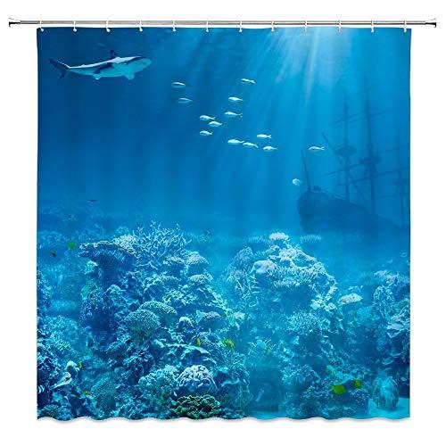 Shark Duschvorhang Wild Marine Life scharf Zähne Fotografie Badezimmer Decor Set mit Haken, 183 x 183 cm, Polyester Schwarz/Grau 4170g