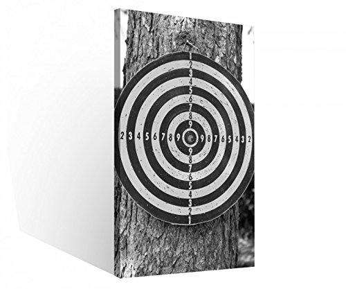 Leinwand 1 Tlg Sport Dart Darts Zielscheibe schwarz weiß Leinwandbilder Bild Bilder Holz fertig gerahmt 9R688, 1 Tlg BxH:30x60cm