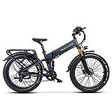 W Wallke X3 Pro Electric Bike 48V 14AH Li-ion Battery Folding 26 inch Fat Electric Bike 750W Motor Full Suspension Adult Ebike (Matte Grey)