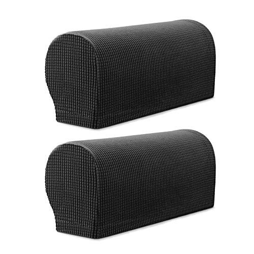 YINETTECH 1 Paar Schwarz Sessel Armlehne Schonbezug Abdeckung Set Armlehnenbezug Armlehnenschoner Armlehnenschutz Möbelschutz