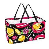 Bolsa de comestibles reutilizable grande, resistente bolsa de compras con parte inferior reforzada y asa (estampado de piruletas de diamante macarón de rosa