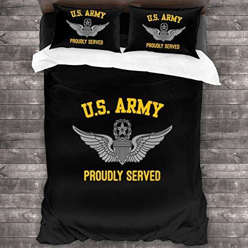 N \ A Us Army Master - Juego de funda de edredón y fundas de almohada (3 piezas, 86 x 70 pulgadas)