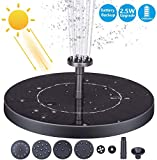 AISITIN 2.5W Solar Fountain Pump, 1200mAh Circle Solar Water Pump Floating Fountain Built-in Battery, with 6 Nozzles, for Bird Bath, Fish Tank, Pond or Garden Decoration pond heaters for outdoor ponds