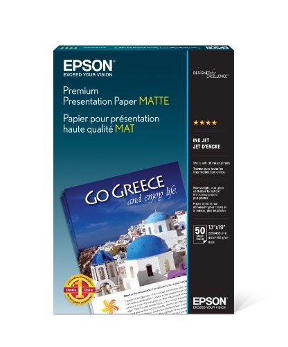 Epson Premium Presentation Paper MATTE (13x19 Inches, 50 Sheets) (S041263) , White , Super B Size