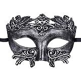 Coxeer Mens Masquerade Mask Greek Roman Party Mask Mardi Gras Halloween Mask Silver Black