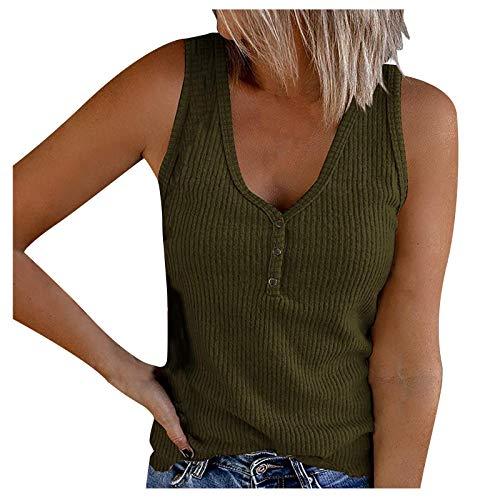 Verano - Chaleco sin mangas con cuello en V para mujer, chaleco de punto de color sólido, suave, cómodo y transpirable, chaleco versátil