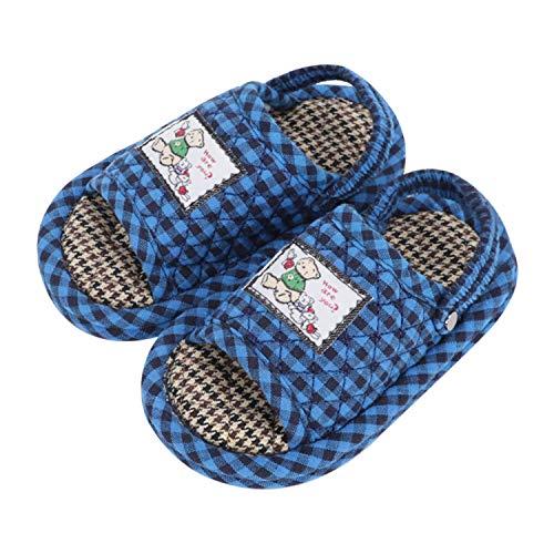 IPENNY - Zapatos de bebé de algodón suave para bebé, silenciosos en casa, para niños y niñas de 1 a 3 años, Azul (azul), Large