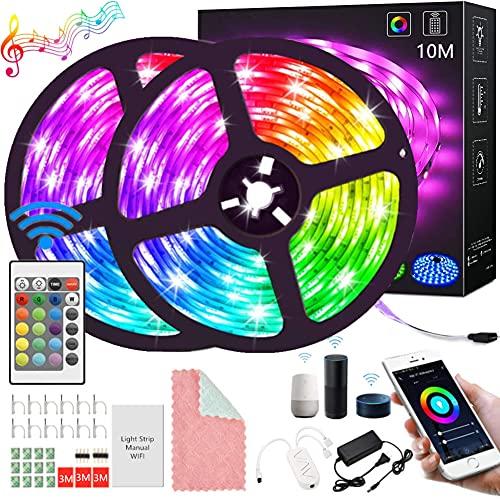 Tira LED, Tira De Luces Led Wifi Alexa 32.8ft/10M 300LED Control App Impermeable Rgb,Tira de luz controlada por teléfono Inteligente, Trabaja con Sistema Android y iOS, Alexa,...