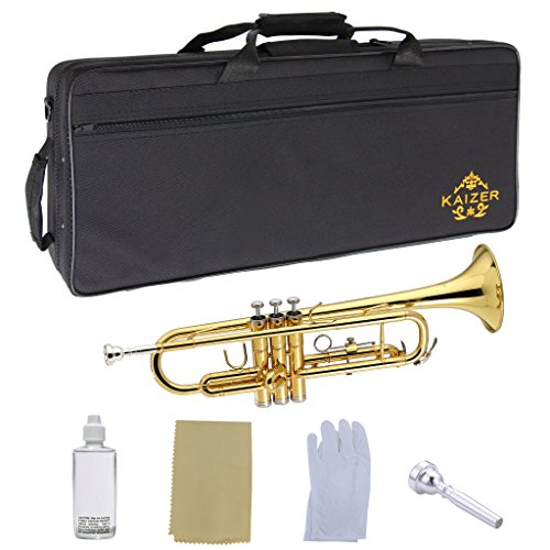 Kaizer Trumpet Bb B Flat Gold Lacquer Rose Brass Includes Case Mouthpiece and Accessories TRP-1000LQ