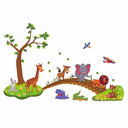 HCCY Cartoon schattige dieren houten brug muur papier Kids Kamers op de muren van de ornamenten kleuterschool muur posters 135 * 86cm