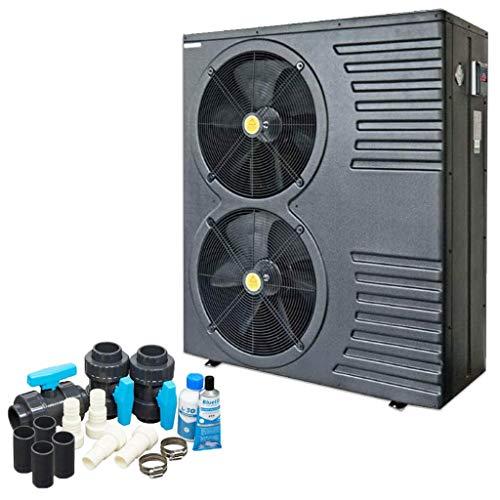 well2wellness ON/Off Pool Wärmepumpe Mida.Black 26 - Poolheizung mit Einer Heizkapazität bis 24,6 kW Plus Bypass Set Basic + Abdeckung