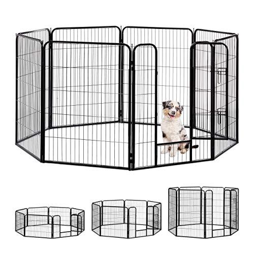 Relaxdays Jaula Perro, Cachorro y Animales Pequeños para Interior y Exterior, Acero, Negro, 100 x 76,5 x 235 cm, extra-large