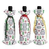 3 pièces sacs de couverture de bouteille de vin longs hippopotames avec chapeaux de père noël sacs-cadeaux de bouteille de vin réutilisables avec ficelle pour les faveurs de Table de Dessert
