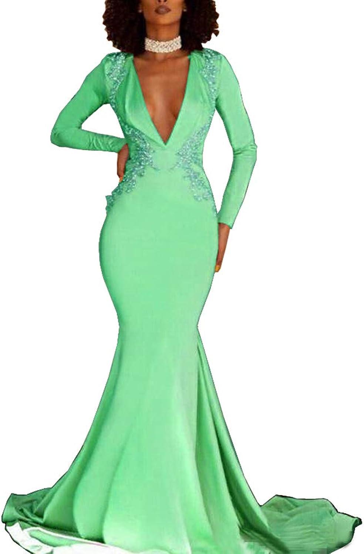 Sweet Bridal Women's Mermaid Long Sleeve Open Back Evening Dresses Beaded VNeck Prom Formal Gowns