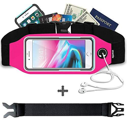 smartlle Sport Laufgürtel, Laufen Gürteltasche wasserdichte Hüfttasche Reflektierenden für Handy iPhone 12 11 XS MAX, 8, 7, 6 Plus, Samsung S9/S8+, S6 Edge +, Running Belt für Frauen & Männer (Rosa)