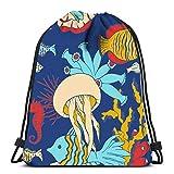 IUBBKI Mochila con cordón Bolsas Sea Life Textura Underwatre World Sport Storage Bolsa de poliéster para gimnasio