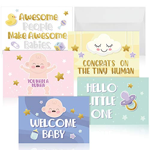 5 Pieces Baby Congratulations Cards 5 Designs Gold Foil New Baby Greeting Cards with Envelopes for Newborn Party Baby Shower Pregnancy Announcement