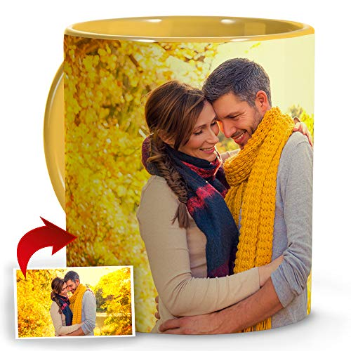 LolaPix Tazas Personalizadas con Foto. Regalos Dia de la Madre Personalizados. Taza Personalizada de Cerámica. Taza con Color Interior y Asa en Amarillo