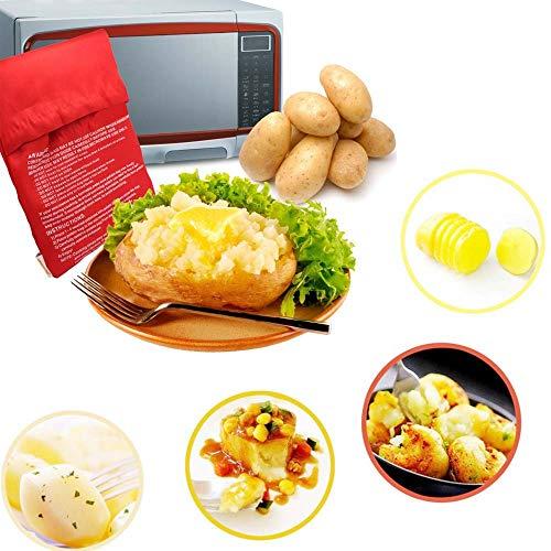 Tbrand 2 minibolsas de cocina para patatas cocidas al horno, microondas, horno, para cocinar patatas, 4 – 6 minutos, rojo, 23 x 18 cm