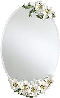 MXD Mirror Bathroom Mirror Waterproof and Moisture-Proof Fashion White Lily Wall Mirror Vanity Mirror