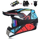 CHAOYUE Dot Approved Motorcycle Full Face Helmet Motocross MTB Helmet Adult Set con Máscaras Guantes Máscara, Casco de Moto, Cascos de Descenso en Carretera Quad, para Hombres Mujeres