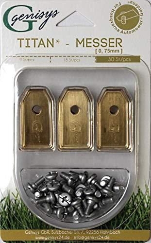 Genisys 30x Titan Ersatz Messer Klingen für Husqvarna Automower/Gardena Mähroboter (longlife | 0,75 mm | 3 g) + 30x ELOXIERTE Schrauben NEU [DIN EN 50636 geprüft]