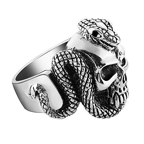 AueDsa Anillos Hombre Plata de Ley Retro,Anillo Gotico Hombre Anillo Punk Plata Serpiente Cobra y Calavera Talla 15