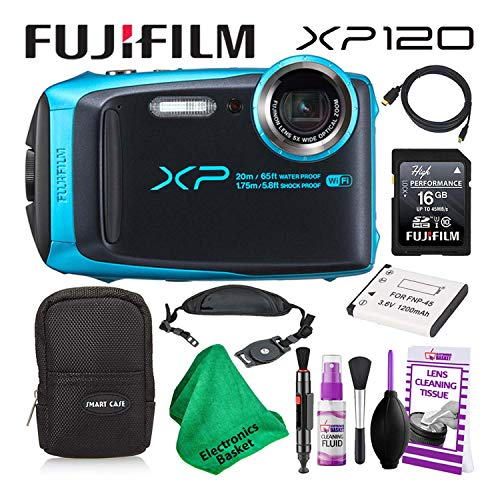 Fujifilm FinePix XP120 (600019758) Waterproof Digital Camera (Sky Blue) Budget-Friendly Camera Accessory Bundle Includes Camera Cleaning Kit, Zippered Carrying Case, and Lots More