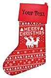 Funny Christmas Stockings Humping Reindeer Threesome Gag Gift Ugly Christmas Sweater Themed Pattern Christmas Stockings for Secret Santa Personalized Christmas Stockings Custom Christmas Stockings Red