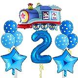 Globo de tren grande para decoración de cumpleaños para niños de 2 años, globo con número 2, globo XXL con forma de estrella, globo de lunares para fiestas temáticas