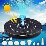 Prenine Solar Springbrunnen Schwimmend 3.5W mit LED Licht 3000 mAh Batterie,6 Arten von Düsen Teichpumpe Solar Wasserpumpe Solarbrunnen für Gartenteich Oder Vogel Bad Fisch Behälter
