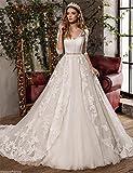 JYL Wedding Dress Bride Gown Bridesmaid Dress Medium And Long Sleeve Floor Length Fishtail Vintage Elegant Pure White/US:16 (5XL)