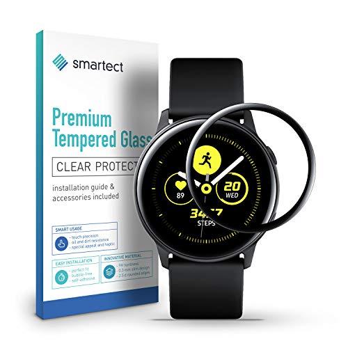 smartect 3D Panzerglas kompatibel mit Samsung Galaxy Watch Active [3D CURVED] - Displayschutz mit 9H Härte - Panzerglas bedeckt ganzes Display komplett Full Cover