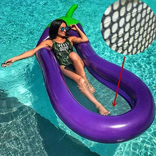 Aufblasbarer Pool Float Aufblasbare Contour Lounge, Luxus Stoff, Swimming-Pool Float, Pool-Stuhl, Bewegliches Wasser Hammock (270 * 110cm, Lila) (Color : Purple, Size : Pool Float+Hand Pump)