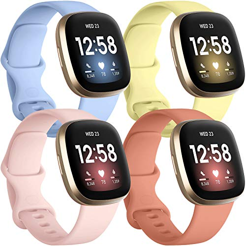 last chance order the fitbit versa 3 in time for christmas Getino 4 Pack Bands Compatible with Fitbit Sense and Fitbit Versa 3, Soft Washable and Durable Silicone Sport Strap, Adjustable Replacement Wristbands for Women Men, Small Orange/Yellow/Pink/Lilac