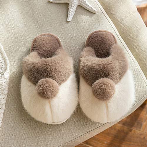 ECSWP MSGWNHLPSB Zapatillas de Piel for niños New Winter Warm Hogar Zapatos de Interior Baby's Flats Niños Dibujos Animados Deslizadores de Peluche Boy Girl Furry Slip on (Color : Gray, Size : #23)