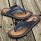 Zapatillas Casa Chanclas Sandalias Zapatillas De Cuero Hechas A Mano para Hombre Chanclas De Moda Zapatillas De Exterior Cómodas Y Transpirables-Bleu_7
