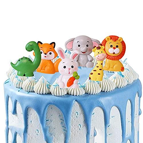 Modelo de Decoración Hilloly 6 Piezas Decoración De Pastel de Jungle Animal Cake Topper Lindos Toppers para la Fiesta de Cumpleaños de los Niños
