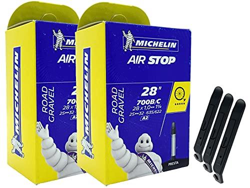 pneugo! Michelin Sclaverand 25-622/32-635 A2 - Juego de 2 cámaras de aire para bicicleta (28', incluye 3 desmontadores)