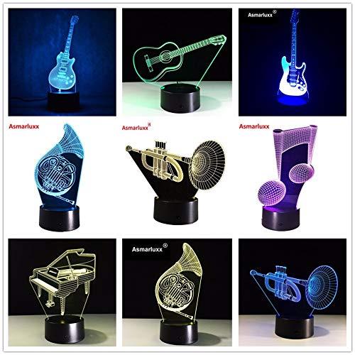 3D Tischlampe Kinder Spielzeug Geschenk E-Gitarre Musicnote Saxphone Klavier Orgel Bunte USB Tisch Baby Schlaf Nachtlicht mit Fernbedienung