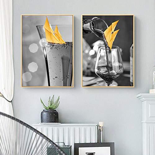Gele zeilboot foto home decor canvas muur schilderij schip wijnglas prints en posters versieren woonkamer 40x60cmx2 (frameloze)