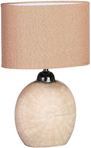 WOFI Lampada da Tavolo E14, 40 W, Marrone, 24 x 17 x 37 cm, con interruttore, ceramica;tessuto