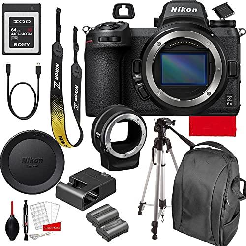 Nikon Z6II Mirrorless Digital Camera 24.5MP (Body Only)+ FTZ Mount Adapter 64GB G Series XQD Memory Card +Accessory...