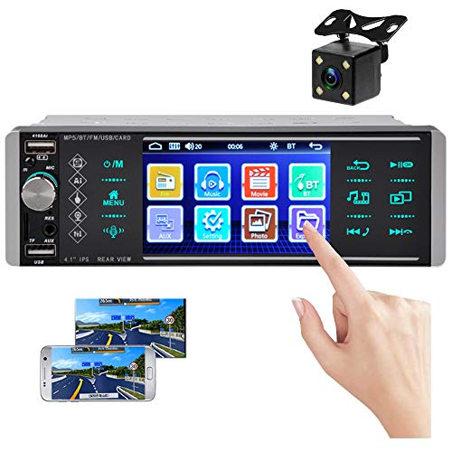 Steering Wheel Control Bluetooth Car Radio Single Din 4 inch Capacitive Touch Screen FM//AM//RDS Radio Receiver with Double USB//SD//AUX-in Card Port Rear View Camera