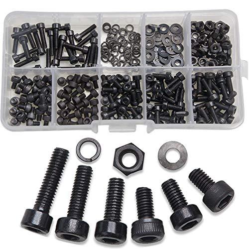 Tornillos M3,BESTZY 300 Piezas Tornillos y Tuercas Acero al Carbono Hardware de Herramientas con Caja de Plástico (Negro)