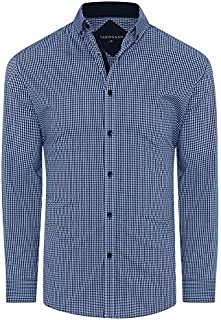 Tarocash Men's York Stretch Check Shirt Regular Fit Long Sleeve Sizes XS-5XL for Going Out Smart Occasionwear