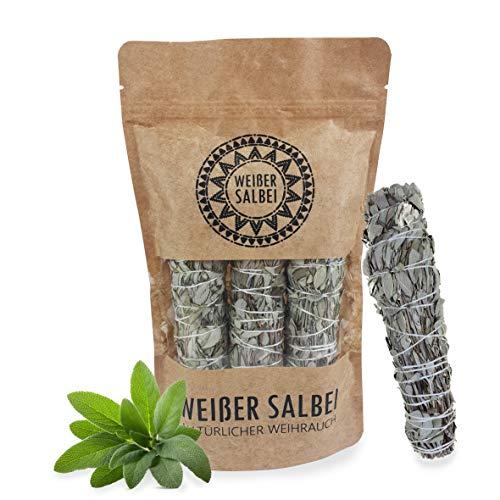 Kultura World - 3 x Weißer Salbei Stäbe - White Sage Smudge Stick - ca. 14cm lange gebundene Räucherstäbe - Natürlicher Weihrauch - Handgebunden in premium Qualität!